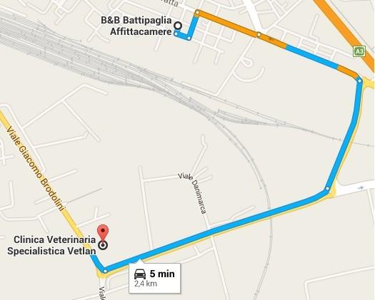 distanza percorso VetLan B&B Battipaglia affittacamere