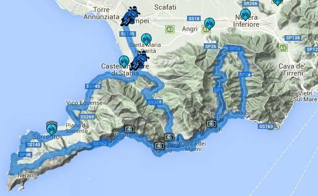 itinerario moto costiera amalfitana e sorrentina